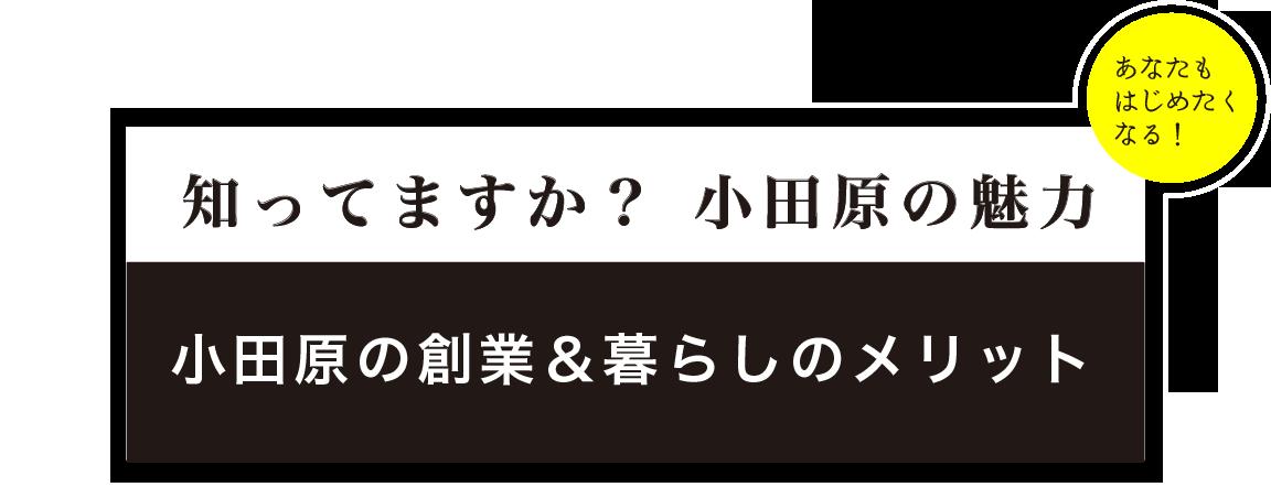 知ってますか?小田原の魅力 小田原の創業&暮らしのメリット